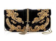 Marchesa Otoño Invierno 2012 gold & black clutch bag