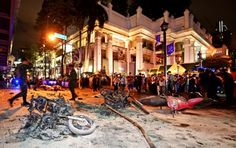 Burned out motorbikes lay on the road at the scene of the blast. Photo: AFP