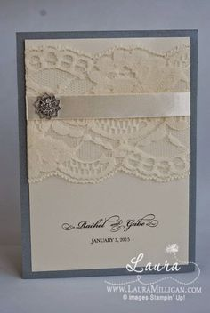 "Laura Milligan, Stampin' Up! Demonstrator - I'd Rather ""Bee"" Stampin!: Vintage Glam Wedding Invitation"
