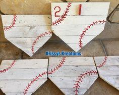Like us www.facebook.com/krissyskreations88 Home plate pallet photo holder. Great for coaches gift. #baseball #krissyskreations88 #reclaimedpallet