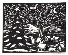 A linoleum block print that I am using for some of my Christmas cards. The hills in the background are the mountains that are part of t. Lino Art, Woodcut Art, Linocut Prints, Art Prints, Block Prints, Linoleum Block Printing, Linoprint, Stamp Printing, Noel Christmas