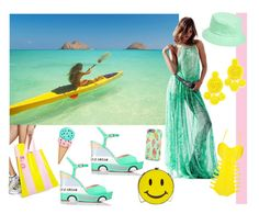 """Takin' it to the beach"" by ningaunis ❤ liked on Polyvore featuring H&M, band.do, Kate Spade, Natasha, Amici Accessories, Mochi, yellow, seafoam and colorchallenge"
