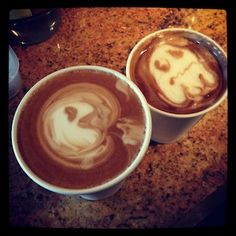 The barista at Fremont Coffee company in Seattle made a Pacman in the coffee :)