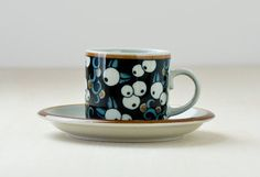 Vintage Dishware, Fika, Marimekko, Cup And Saucer, Utensils, Glaze, Tea Cups, Pottery, Ceramics