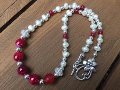 Holiday Red Bead Necklace, Winter Bead Necklace, Red Bead and Pearl Necklace, Sparkly Bead Necklace, Christmas Pearl Necklace