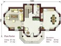 case mici cu trei dormitoare 3 plan parter Tree Bedroom, Floor Plans, Modern, Bedrooms, Houses, Homes, Trendy Tree, Bedroom, House
