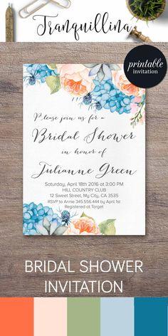Floral Bridal Shower Invitation Printable, Peony Bridal Shower Invitation, Hydrangea Bridal Shower Invite, Blue & Peach Bridal Invitation. tranquillina.etsy.com