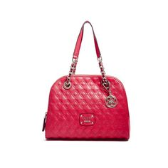 GUESS Izabella Quilted Cali Satchel (450 QAR) ❤ liked on Polyvore featuring bags, handbags, lipstick, white handbags, woven-leather handbags, white purse, faux leather satchel and guess handbags
