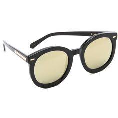 Karen Walker Superstars Super Duper Strength Sunglasses ($275) ❤ liked on Polyvore featuring accessories, eyewear, sunglasses, polarized lens sunglasses, round mirrored sunglasses, round mirror sunglasses, mirrored glasses and karen walker eyewear