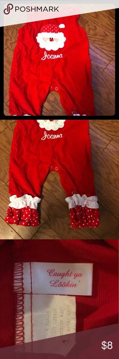 Christmas Santa jumpsuit! Red and white Christmas jumpsuit. Joanna is the name on the front. Two buttons missing to clasp at shoulders. Caught Ya Looking One Pieces