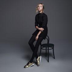 Josephine Skriver wears metallic gold sneakers for Hogan fall-winter 2016 campaign