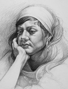 """Life Study Andrea"" -  Sara Golish, graphite on paper {contemporary art female head woman face cropped drawing} saragolish.com"