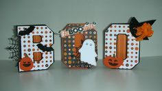 BOO home decor using 3D Pop Up Letters templates from MyScrapChick  More pictures and details on my blog:  craftingwithprincesslisa.blogspot.com/2015/10/boo-and-happy-halloween-from-friend.html