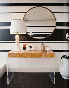 Boldly striped wall + Jonathan Adler bond consol from @zinc_door #zincdoor #stripes #consol