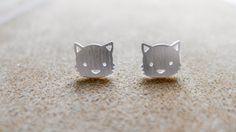 Cute Kitten, Chic Idea Silver Accessories by PIMTHA , Cute Stud Earring, Homemade and Handmade