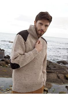 FISHERMAN'S HALF ZIP SWEATER Made from 100% Wool Colours Available: Oatmeal www.arancrafts.com