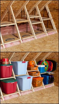 Clever Attic Storage Ideas  There are always things that need to be stored. Snow skis in summer, beach gear in winter, those boxes full of memories and even camping gear. Your roof space is possibly a great solution. But attic areas typically have very irregular shapes, which means that regular storage ideas won't work in this part of the house.