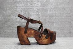 Vtg 70s Brown Leather Sculptural Wooden Platform by theindustry, $235.00