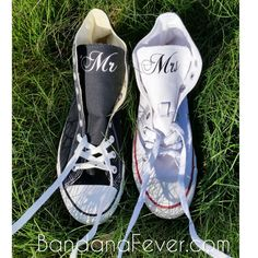 Save $15 by ordering His & Her Set TOGETHER!!!  Set 2 Custom Wedding Couple Converse Chuck Taylor Hi Top - Personalized Mrs. and Mr Wedding Shoes - Bridal Shoes - Mr and Mrs. Shoes - Wedding Gifts - by Bandana Fever   2 B-E-A-U-T-I-F-U-L personalized pairs of Converse Chuck Taylor Hi for His + Her, customized with Your Wedding Names on Tongues of sneakers. Sneakers are personalized with a vinyl design, not glued, drawn, or