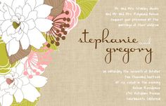 Custom Burlap and Floral Wedding Invitations and Response Cards