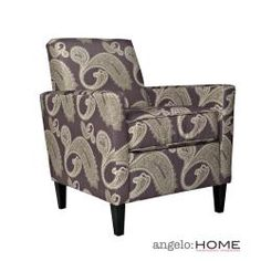 @Overstock - The angelo:HOME Sutton accent arm chair was designed by Angelo Surmelis. The Sutton chair has a slightly flared arm and is covered in an amethyst purple paisley fabric.http://www.overstock.com/Home-Garden/angelo-HOME-Sutton-Feathered-Paisley-Amethyst-Purple-Arm-Chair/6385322/product.html?CID=214117 $269.99