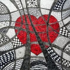- Bri-coconut Lolo create these small - St Valentin Fleurs Tangle Doodle, Tangle Art, Doodles Zentangles, Zen Doodle, Zentangle Patterns, Doodle Art, Valentines Art, Quilting, Middle School Art