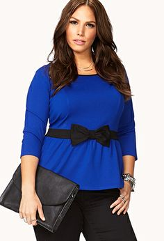 Peplum Bow Top | FOREVER21 PLUS - 2040496086 - This is just beautiful!! #ForeverHoliday #Forever21 #wishlist