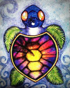 Sunset Sea Turtle Art Print by Alohalani   Society6