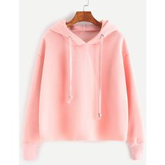 Pink Drawstring Hooded Sweatshirt (635 UAH) ❤ liked on Polyvore featuring tops, hoodies, sweaters, outerwear, shirts, pink, hooded sweatshirt, hooded pullover sweatshirt, pullover hoodie and extra long sleeve shirts