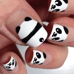 We love these #panda nails!!! ��� So #kawaii! � � � � :Hannah Weir / Harajuku Lovers by Gwen Stefani Pop Electric fragrance! Fun, colorful, cute perfumes for women