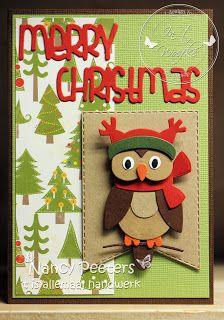 In 't Woefke: Kerstuiltje… Die Cut Cards, Marianne Design, Stampin Up, Christmas Cards, Stamps, Scrapbooking, Clock, Cards, Noel