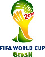 FIFA World Cup Brasil 2014 symbolized with hands holding The World Cup in Brazilian colours