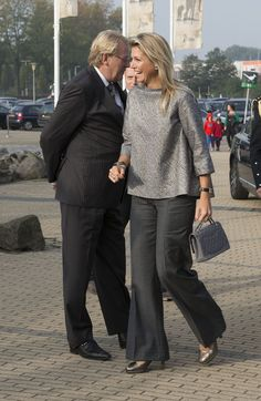 A more casual yet chic ensemble worn by Queen Maxima.