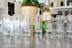 """!@#$%&* Etched Shot Glasses--This would be fun to do with larger water glasses with initials or even these kinds of symbols to """"mark"""" our glasses and keep track of who's is whose."""