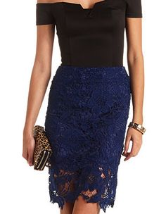 High-Waisted Embroidered Lace Pencil Skirt: Charlotte Russe