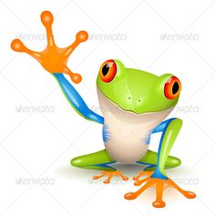 Little Tree Frog — Vector EPS #orange #avatar • Available here → https://graphicriver.net/item/little-tree-frog/141997?ref=pxcr