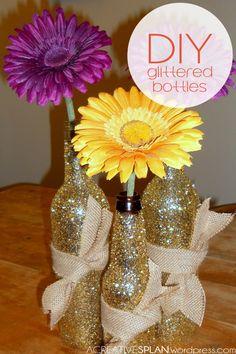 Country-Glam Glittered Bottles | acreativesplan