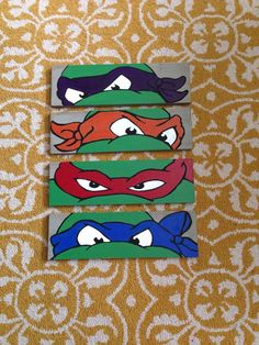 Each turtle measures around on lightly distressed gray wood. Painted to perfection, these make an awesome addition to any boys room. Please note- ALL orders are built to order and take roughl Ninja Turtle Room, Ninja Turtle Birthday, Ninja Turtles, Turtle Nursery, Turtle Painting, Rock Painting, Pallet Art, Art Wall Kids, Painted Rocks