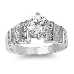 ora's 2CT Brilliant Cut Cubic Zirconia Engagement Ring with Baguettes #CZEngagement