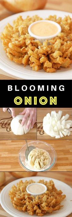 Blooming Onion – Crispy, batter-fried onions that resemble flower pedals at Outback Steakhouse! This is an easy and impressive looking appetizer that's great to share. All you need is a few simple ingredients. Follow this video recipe on how to slice and fry a blooming onion. | Quick and easy recipe, vegetarian. Party appetizer. Video recipe | Tipbuzz.com