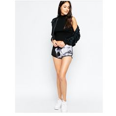 "NEW adidas sz L Black Grey Smoke Shorts Rita Ora Rita Ora collection Adidas Sz L Stretchy waistband  Original retail $55 New with tags  Measurements laying down: Waist: 17"" (stretches to 20.5"") Side seam: 10"" Inseam: 1.5"" Adidas Shorts"
