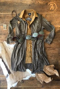 The Dacono – Savannah Sevens Western Chic. Saddle tan cord sleeveless dress. Mini corduroy fabric. Brass snaps. Double front pockets.