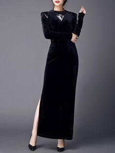 $25.57 Spliced Velvet ack High Slit Dress