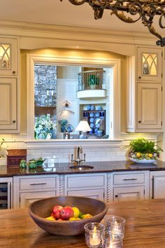 Pass Through Window in Traditional Kitchen