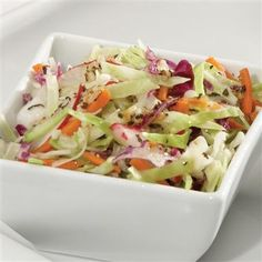 Coleslaw with Basil & Garlic Vinaigrette: Need a change from creamy coleslaw? Try this coleslaw that's tossed with a light basil & garlic vinaigrette!
