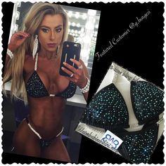 Black bling competition bikini featured at Jr. USA 2016, suit by waterbabiesbikini.com