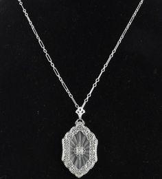 Antique 10K White Gold Art Deco Camphor Glass Diamond Filigree Pendant Necklace #Chain