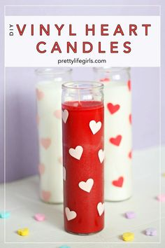 DIY vinyl heart candles The Pretty Life Girls – Perfect Decoration For Lovers My Funny Valentine, Valentines Mugs, Valentine Day Crafts, Ideas For Valentines Day, Valentine Gifts For Kids, Printable Valentine, Homemade Valentines, Valentine Box, Valentine Wreath