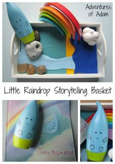 Create your own storytelling basket to act out the story The Little Raindrop by Joanna Gray