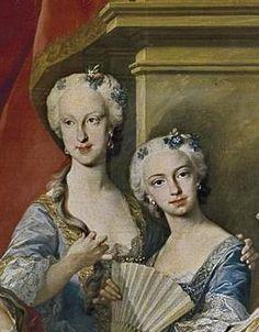 Maria Teresa Rafaela and Maria Antonia Bourbon of Spain detail of a portrait of their family by Michael Van Loo